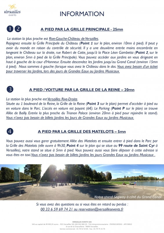 Versailles events - Segway tour in French - visit - Versailles palace - park
