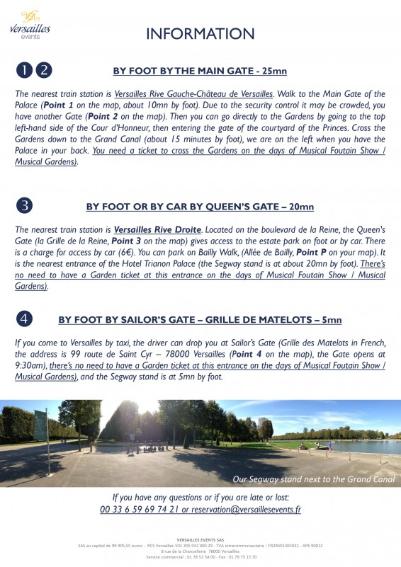 Versailles events - Segway tour in English - visit - Versailles palace - park