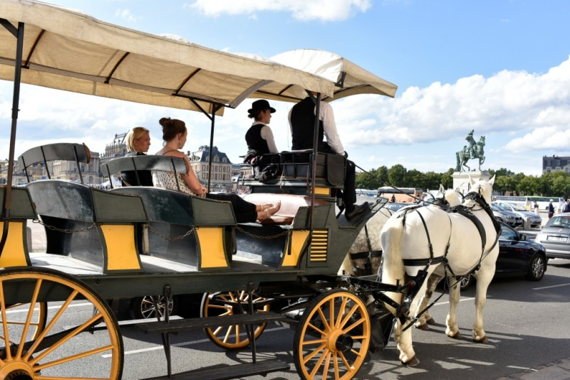 Balade en calèche dans la ville de Versailles